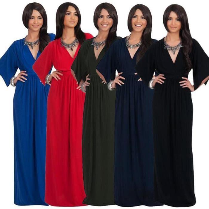 6103d0dd1fa Grande taille sexy en vrac à manches courtes Jupe longue robe de soirée  Femmes Party-