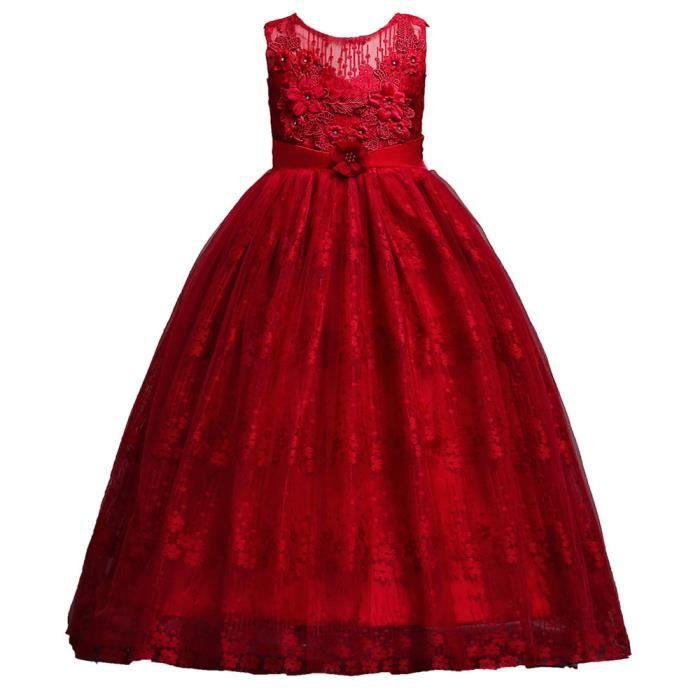Fleur Dentelle Âge Robe Bas De En Vêtements Formelle Enfants Filles Princesse Rouge Les Party Mariée Cwzxq18nt