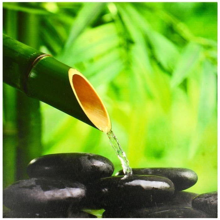tableau toile cadre zen bambou galets noir eau achat vente tableau toile cdiscount. Black Bedroom Furniture Sets. Home Design Ideas