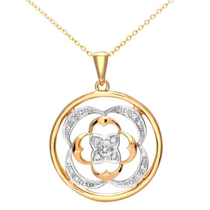 Revoni - Pendentif en or jaune 9 carats et diamant, chaîne 46 cm - REVCDPP03148Y