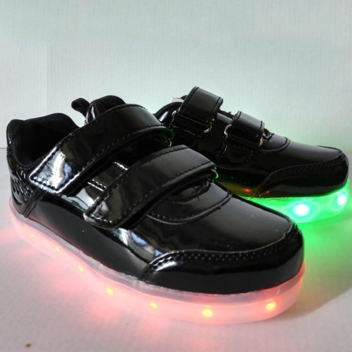 2016 Nouveauenfants ChaussuresMode chaud chaussures 7 Couleu Enfants USB Charge LED Lumière Lumineux Clignotants Chaussures de S