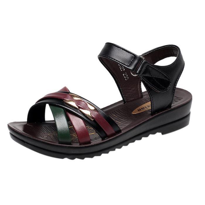Taille Confort D'été Sandales Mode Cuir De Grande Chaussures Wedges Noir Femmes pWang