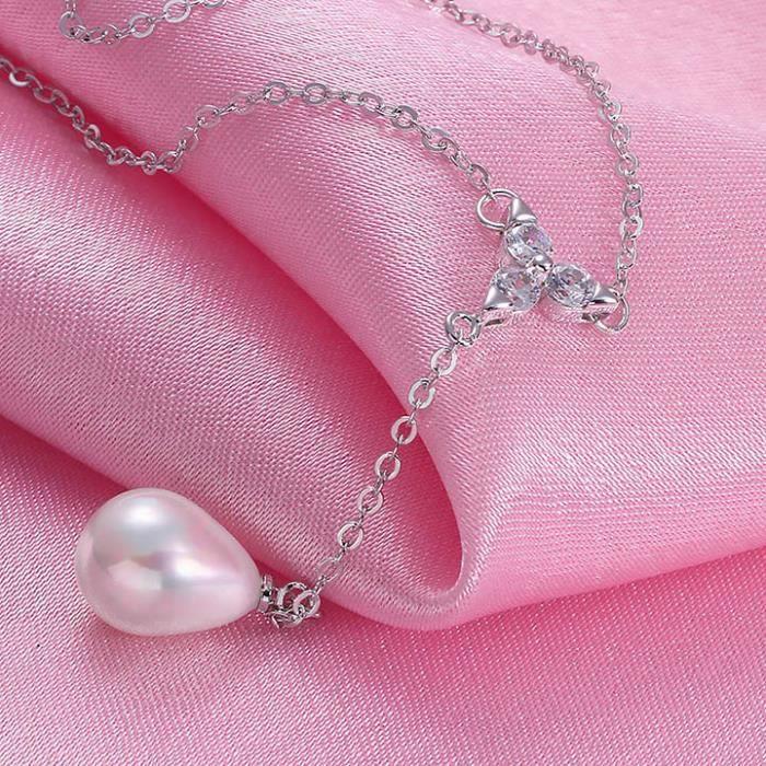 Collier pendentif Plaqué platine 750/00 18K carats Bijou fantaisie haut de gamme Femme Blanc Perles et Y Maërl