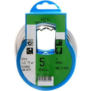 PROFIPLAST Couronne de câble 5 m HO3VHH 2 x 0,75 mm2 Blanc