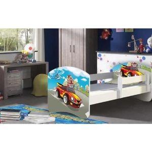 LIT COMPLET Lit Enfant 180x80 cm voiture de course avec matela