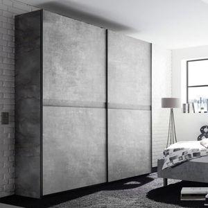 ARMOIRE DE CHAMBRE Armoire à portes coulissantes 200 cm gris effet bé