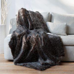 plaid en fausse fourrure achat vente plaid en fausse fourrure pas cher cdiscount. Black Bedroom Furniture Sets. Home Design Ideas