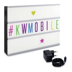 kwmobile bo te lumineuse cin ma led a4 105 lettres caract res de couleur et bloc secteur. Black Bedroom Furniture Sets. Home Design Ideas