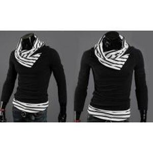 PULL Pull casual mode homme-col haut rayure blanc/noir