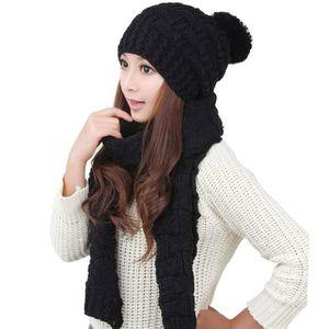 BONNET - CAGOULE Bonnet en tricot à pompon et écharpe épais femmes 1a7de1701ec