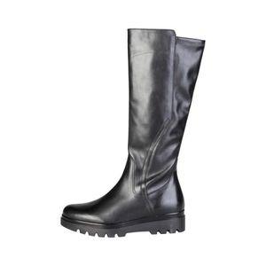 dd46223ea71a88 Bottes noir en cuir à talon compensé ANNIKKI - Buzzao Noir Noir ...