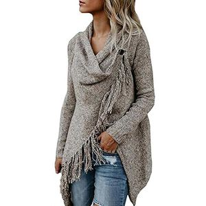 Minetom Femme Gilet Chandail Sweater Poncho Cape En Tricot Tassel Cardigan  Automne Hiver Ouvert Chic Mode Asymétrique B kaki - Achat   Vente gilet ... 77c157f02ca