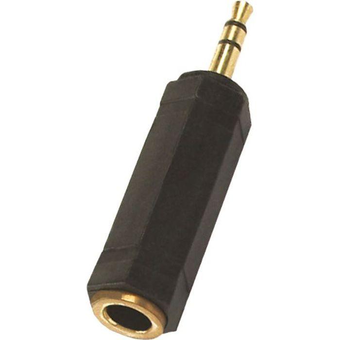Connecter une fiche stéréo 6.35 mm sur une sortie casque stéréo 3.5 mm - Finitions OrCABLE - CONNECTIQUE TV - VIDEO - SON
