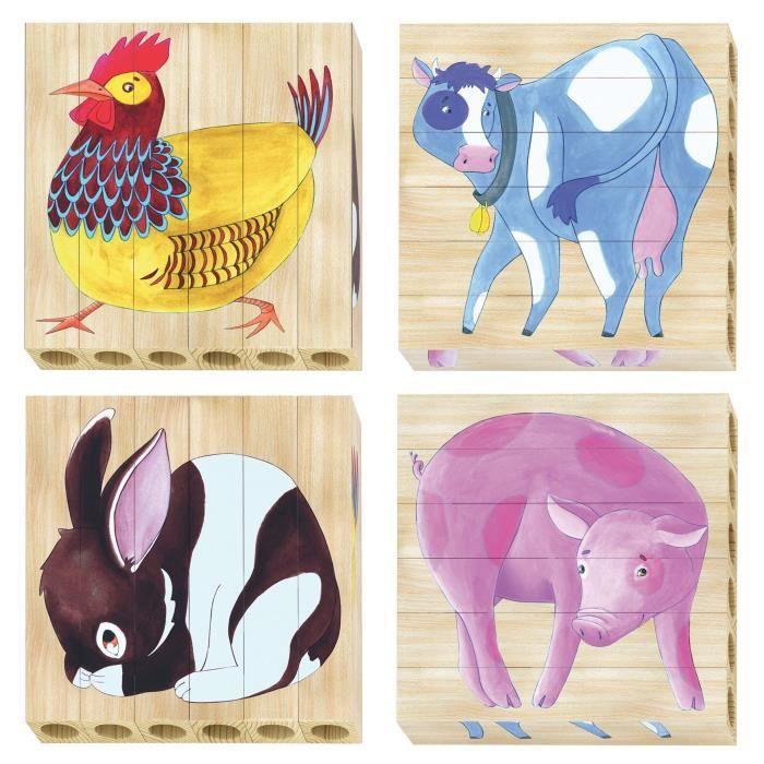 QUERCETTI Puzzles bois Ferme - 4 motifs