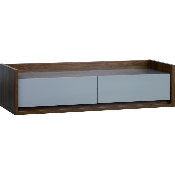 Bois mélaminé noyer et beige - 2 tiroirs avec facilité d'ouverture - 146x50x38cmMEUBLE TV - MEUBLE HI-FI