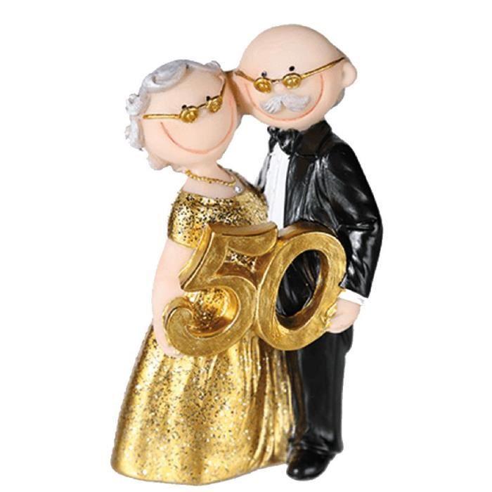 Figurine noces d 39 or 50 11 x 5 cm l achat vente figurine d cor g teau soldes d s le 10 - Decoration noce d or ...