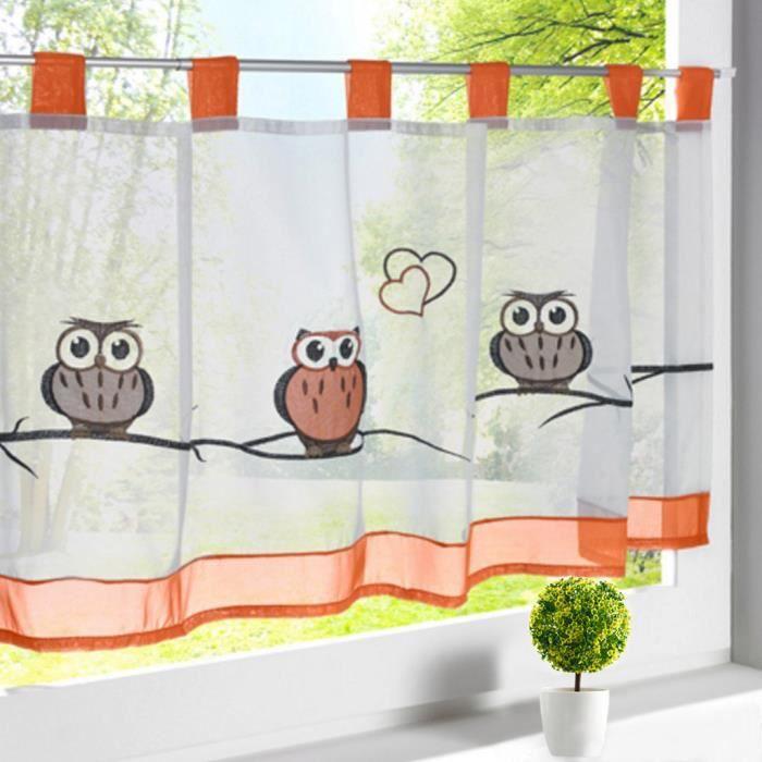 1pc rideau brise bise hxl 45x90cm broderie hibou pan color rideaux courts pattes d coration. Black Bedroom Furniture Sets. Home Design Ideas