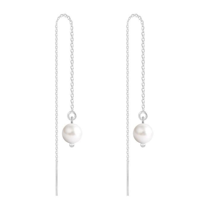 Boucles dOreilles Chaîne Argent 925 Perles 6mm Swarovski Element - White Pearl