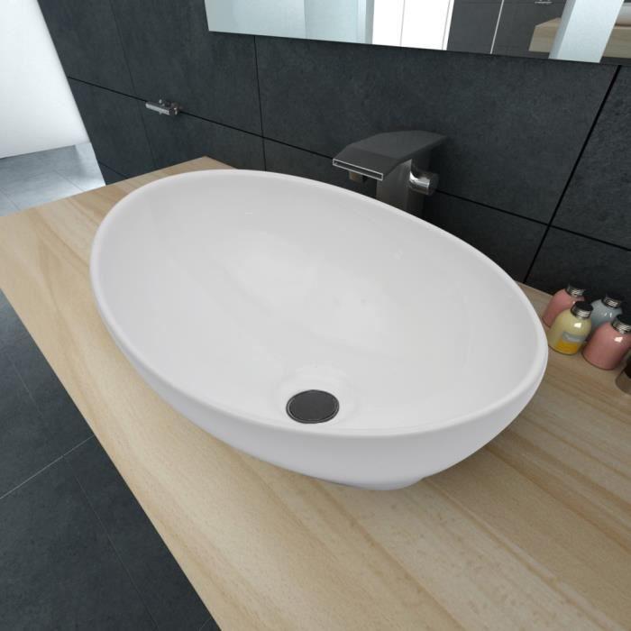 vasque a poser ceramique Luxueuse Vasque à poser en céramique Ovale Blanche 40 x 33 cm