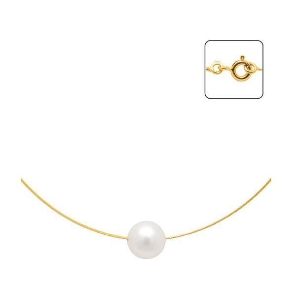 95e5cdbb3 Collier Cable en Or 750/1000 et Perle de Culture BlancBlue Pearls