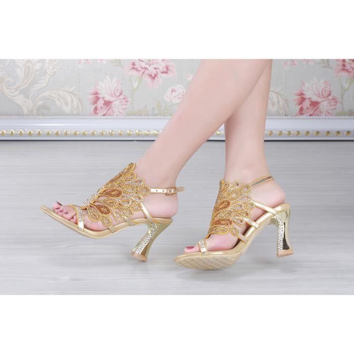 New bohême d'or strass cloutés épais sandales à talons hauts sandales mariée mariage PRkUAc