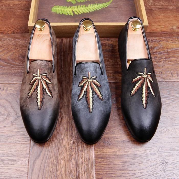 Hommes Vintage les feuilles des arbres broderie conception de soirée mariage Chaussures en cuir vache Slip-Lazy pois adolescents 1FYgBlzd
