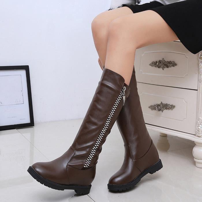 Bottes d'hiver de la cuisse de femmes au-dessus de la botte de genou a augmenté les chaussures à talons plats marron XKO143 nvEidYNwp0