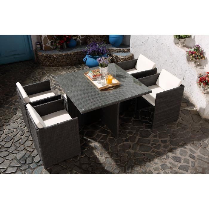 Vito Salon jardin gris encastrable 4 personnes - Achat / Vente salon ...
