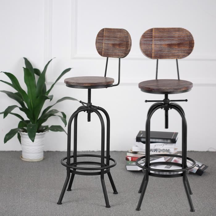 IKayaa 2Pcs Tabouret De Bar Industriel Style Hauteur Reglable Pivotant Chaise A Manger En Bois Pin Acier 42 38 105 120cm