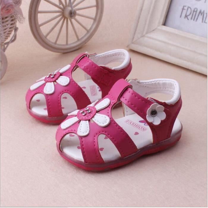 f90643f1b5a91 sandales pour enfants fond souple bébé Fille émettant Chaussures rose rouge  17