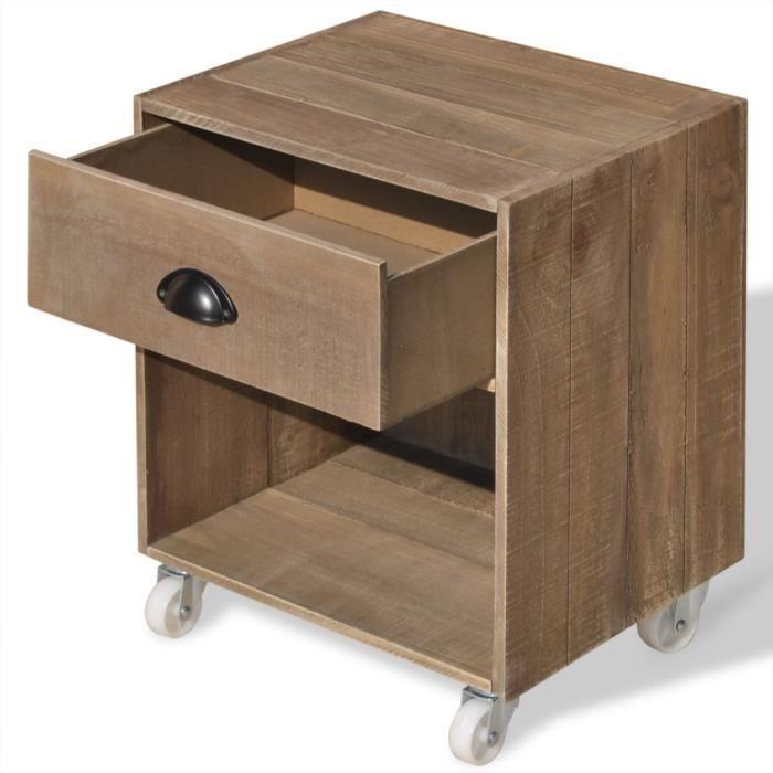 vidaxl table de chevet bois massif marron - achat / vente chevet