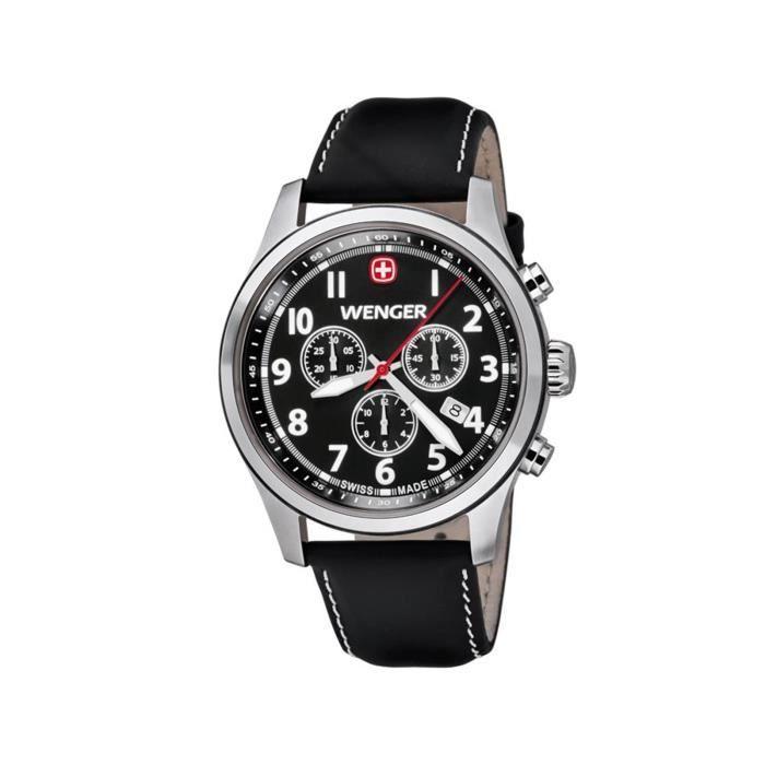 Montre Bracelet Cuir Quartz Analogique 010543101 Wenger Homme Noir hdCxtsQr