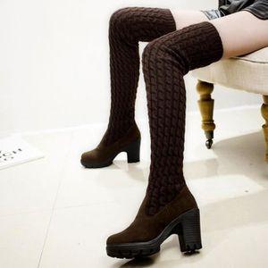 Napoulen®Mode tricotant Bottes orteil élastique extensible talon épais au-dessus du genou pour femmes Noir-XYM70829904BK FpllaZ