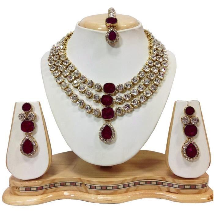 Collier Femme cristal constellée traditionnelle Ensemble de bijoux avec boucles doreilles pour -O4XCW