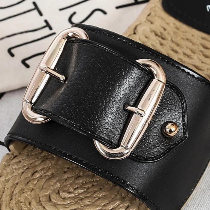 Benjanies Sandales Femmes Plates Paille Chaussures Flip Casual noir Antidrapante t Flop De Pantoufles 5A3c4RjqL