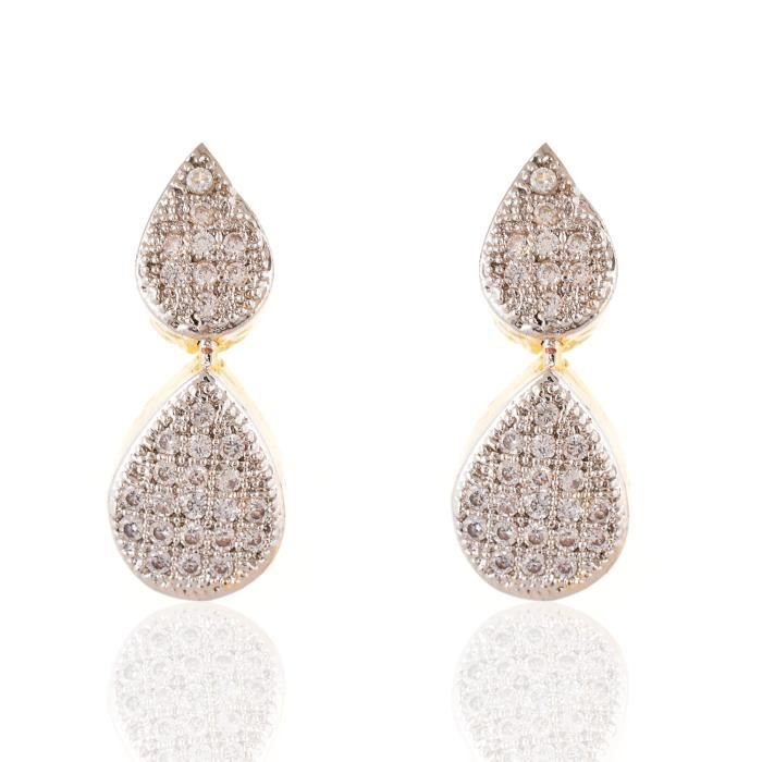 Be You Frappante couleur blanche zircone cubique clouté avec boucles doreilles plaqué rhodium en laiton diamant look et collier