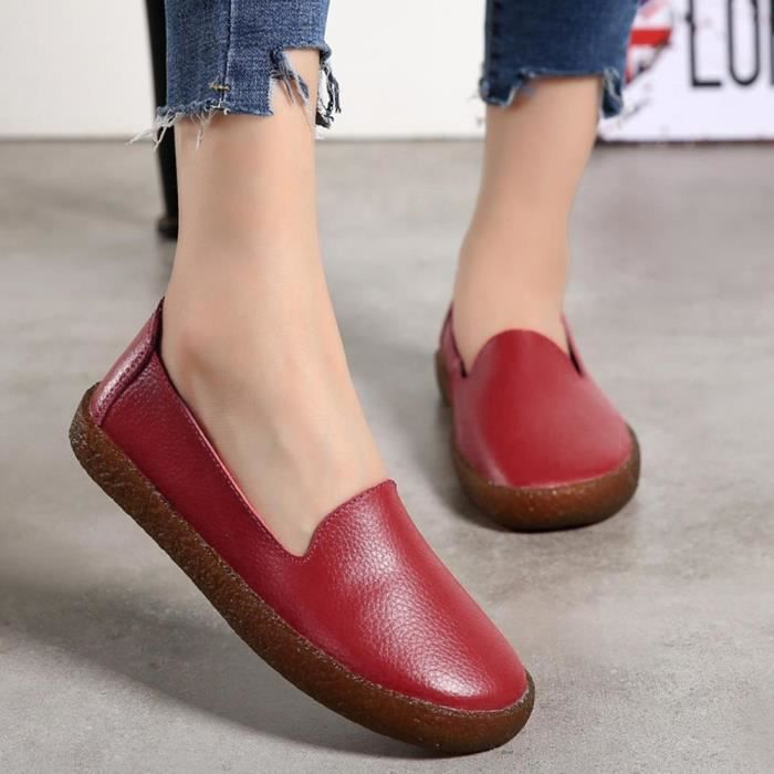 Creepers Flats Mocassins À Cuir Chaussures Femmes Casual Muffin Sneakers Rouge Lacets En zfdvdxZqw
