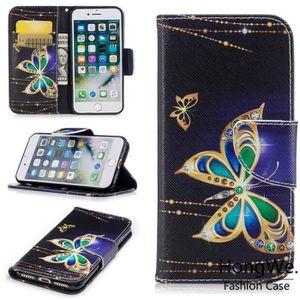 HOUSSE - ÉTUI Housse Etui Pour Apple Iphone7 papillon noir Motif 4deb96c4f2b