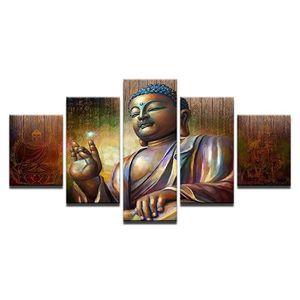 TABLEAU - TOILE Toiles imprimées 5 pièces Bouddha Méditation Boudd