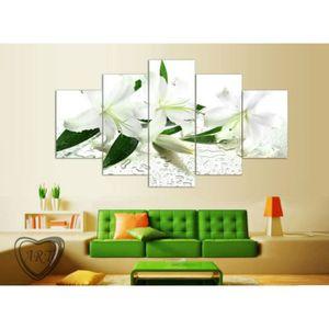 OBJET DÉCORATION MURALE 5 groupes de fleurs blanches peinture mur art phot