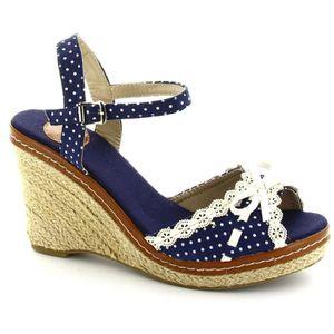 Bleu Vente Sandales St Compensées Achat Tropez WHD2IE9