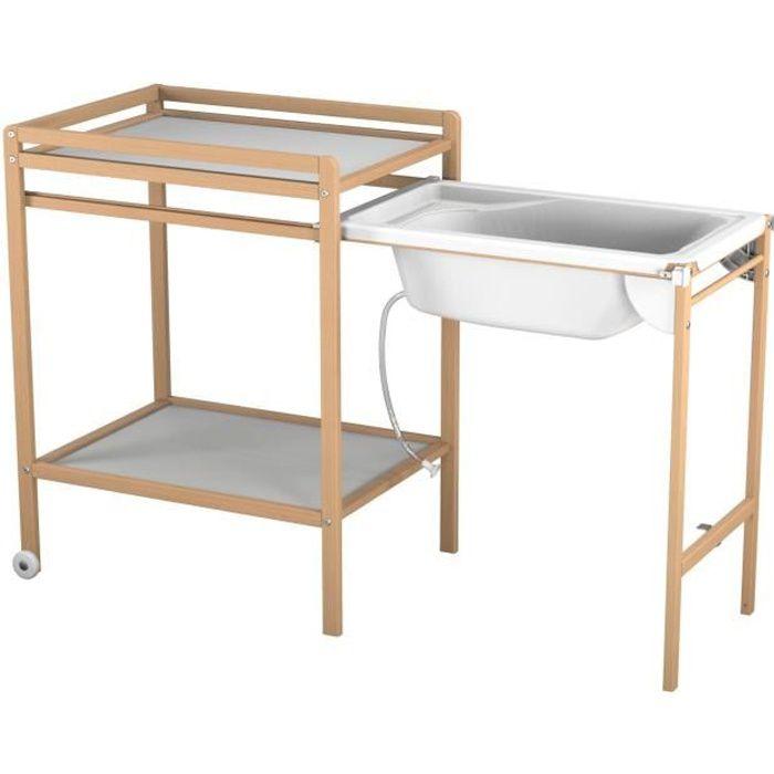 AT4 Table à langer à roulettes avec baignoire - Vernis