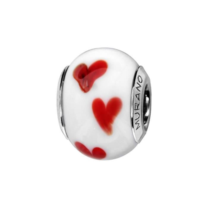 Charms Argent 925 Perle Murano Blanc Coeur Rouge