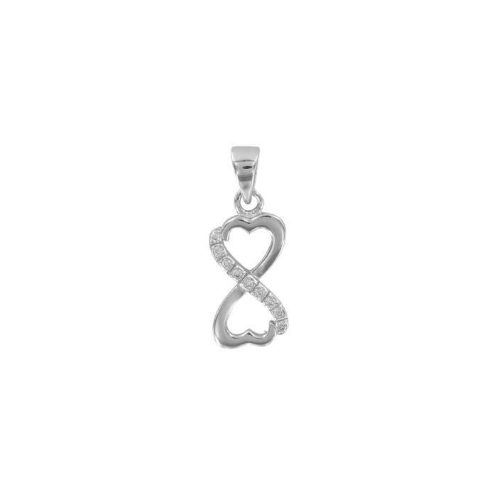 Jouailla - Pendentif coeur argent 925-1000e rhodié Oxydes de zironium