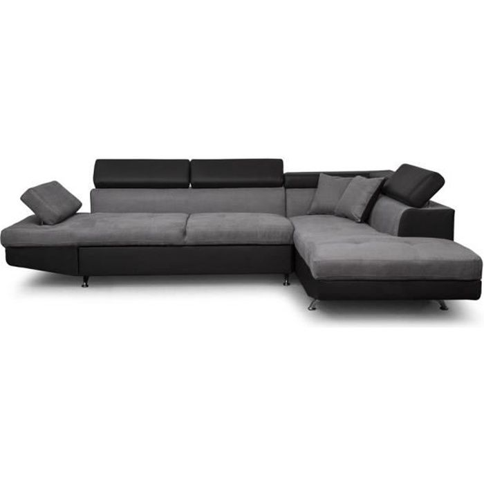 canap d angle droit convertible avec coffre gris noir rio achat vente canap sofa divan. Black Bedroom Furniture Sets. Home Design Ideas