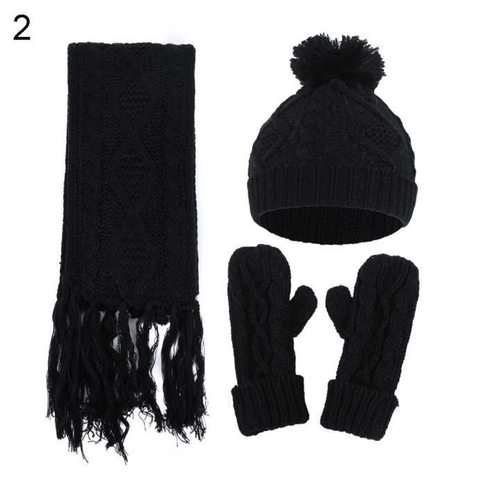 Hiver chaud couleur unie hommes femmes pompon bonnet chapeau bonnet tricoté  écharpe gants set noir 43bb5cadb5f