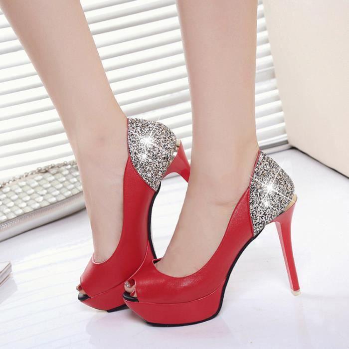 Sexy femmes talon haut pompes plate-forme bling peep toe talon mince sandales talon haut 11cm iALg8