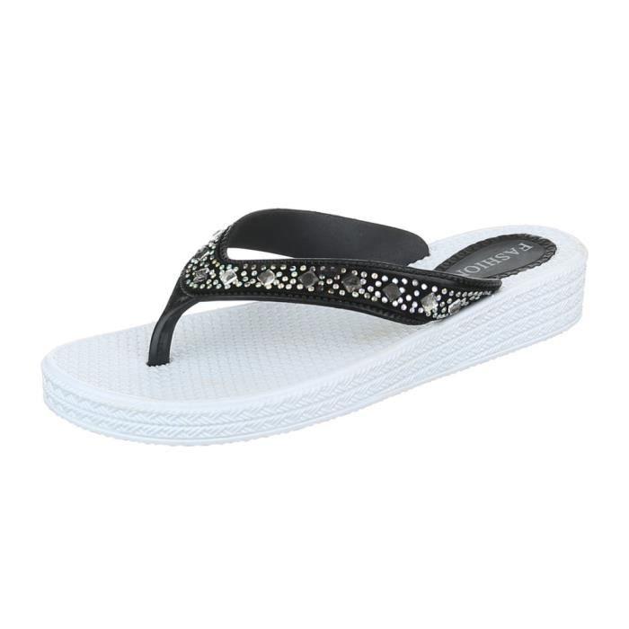 femme sandale chaussure chaussures d'été chaussures de plage l'orteil sépareravec Strass Beige BVGV3Ds