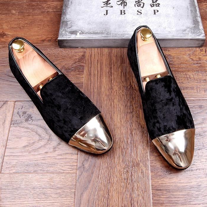 de soirée mariage Mocassins Hommes Chaussures velours pantoufles fumer Slip-on Toe Métal Verni Noir Gris yo5kvWvQy0