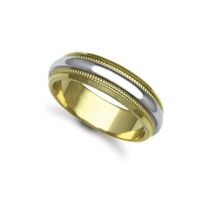 Jewelco London Or 2 couleurs 9k mariage bague 6mm